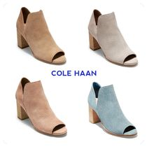 Cole Haan Open Toe Suede Plain Elegant Style Chunky Heels