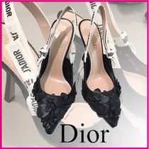 Christian Dior Flower Patterns Plain Leather Elegant Style