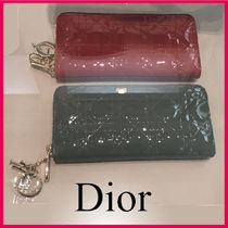 Christian Dior LADY DIOR Plain Leather Long Wallets