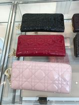 Christian Dior LADY DIOR Plain Leather Long Wallet  Long Wallets