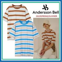 ANDERSSON BELL Crew Neck Stripes Unisex Street Style Cotton Short Sleeves