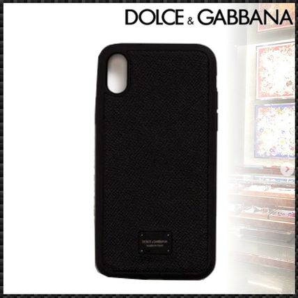 Dolce & Gabbana Smart Phone Cases Blended Fabrics Street Style Plain Leather Smart Phone Cases