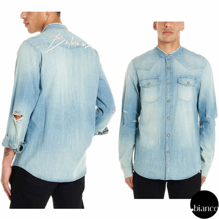 Denim Plain Logo Luxury Shirts