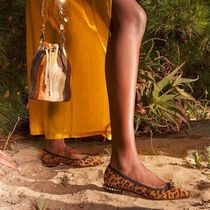 Christian Louboutin Leopard Patterns Suede Studded Ballet Shoes