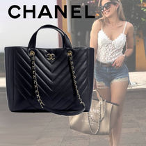 CHANEL Unisex Calfskin A4 2WAY Chain Totes
