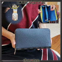 Louis Vuitton EPI Unisex Calfskin Blended Fabrics Bi-color Plain Long Wallets