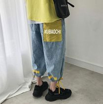 Unisex Denim Street Style Plain Oversized