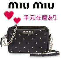 MiuMiu Blended Fabrics Studded Chain Plain Leather Party Style