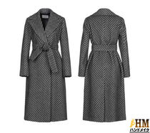 MaxMara Stripes Wool Medium Office Style Wrap Coats