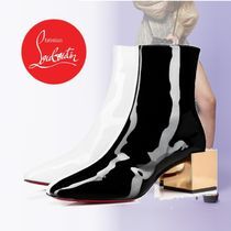Christian Louboutin Bi-color Leather Block Heels Ankle & Booties Boots