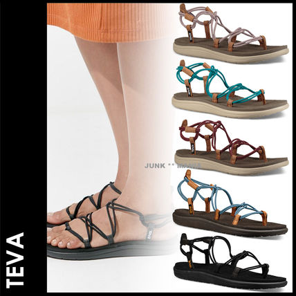 Open Toe Casual Style Street Style Plain Footbed Sandals