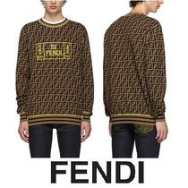 FENDI FOREVER Crew Neck Wool Blended Fabrics Long Sleeves Plain