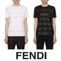 FENDI FOREVER Crew Neck Plain Cotton Short Sleeves Crew Neck T-Shirts