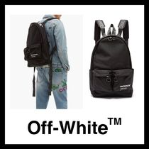 Off-White Canvas Street Style Backpacks