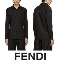 FENDI FOREVER Plain Cotton Short Sleeves Oversized Logos on the Sleeves