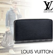 Louis Vuitton ZIPPY ORGANISER Other Check Patterns Blended Fabrics Plain Leather