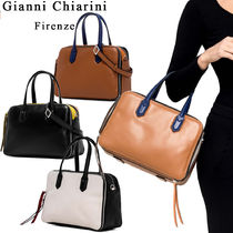 GIANNI CHIARINI Casual Style 2WAY Bi-color Plain Leather Handmade Handbags