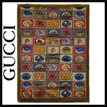 GUCCI Unisex Blended Fabrics Fringes Throws