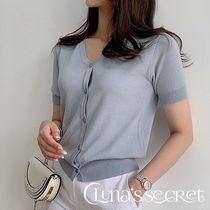 Plain Medium Short Sleeves Elegant Style Cardigans