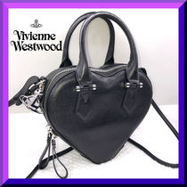 Vivienne Westwood Blended Fabrics 2WAY Plain Leather Party Style Handbags