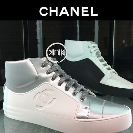 CHANEL Sneakers Bi-color Plain Leather Sneakers