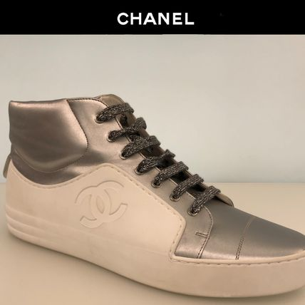 CHANEL Sneakers Bi-color Plain Leather Sneakers 3