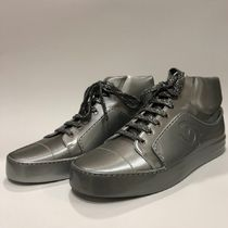 CHANEL Plain Leather Sneakers