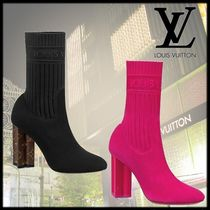 Louis Vuitton Monogram Blended Fabrics Block Heels High Heel Boots