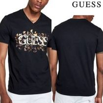 Guess V-Neck Plain Cotton Short Sleeves V-Neck T-Shirts
