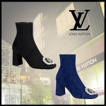 Louis Vuitton Plain Toe Suede Plain Block Heels With Jewels
