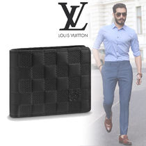 Louis Vuitton DAMIER INFINI Other Check Patterns Blended Fabrics Street Style Leather
