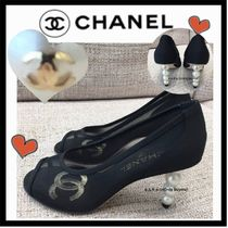 CHANEL MADEMOISELLE Open Toe Plain Elegant Style Peep Toe Pumps & Mules