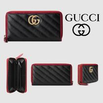 GUCCI GG Marmont Bi-color Leather Long Wallets