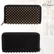 Christian Louboutin Pigalle Follies Calfskin Studded Bi-color Long Wallets