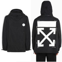Off-White Nylon Street Style Coach Jackets Oversized Coach Jackets
