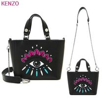 KENZO Casual Style Studded Chain Leather Shoulder Bags