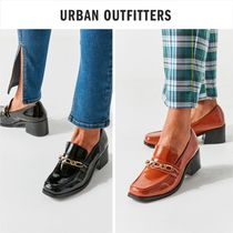 Urban Outfitters Square Toe Casual Style Faux Fur Plain Block Heels