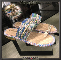 CHANEL ICON Open Toe Blended Fabrics Bi-color Chain Plain Leather