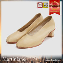 MARTINIANO Casual Style Plain Leather Kitten Heel Pumps & Mules