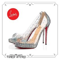 Christian Louboutin Open Toe Platform Leather With Jewels Platform Pumps & Mules