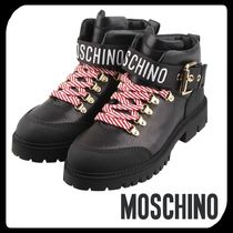 Moschino Stripes Round Toe Rubber Sole Casual Style Street Style