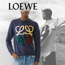 LOEWE Crew Neck Pullovers Unisex Long Sleeves Plain Cotton