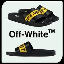 Off-White Street Style Bi-color Shower Shoes Shower Sandals