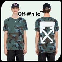 Off-White Crew Neck Pullovers Camouflage Cotton Short Sleeves