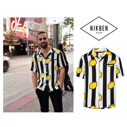 Stripes Tropical Patterns Unisex Street Style Short Sleeves