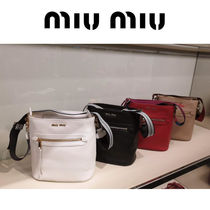 MiuMiu Casual Style Blended Fabrics Plain Leather Shoulder Bags