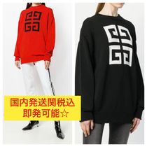GIVENCHY Crew Neck Casual Style Unisex Rib Street Style Bi-color