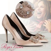 Roger Vivier Flower Patterns Pin Heels With Jewels Elegant Style