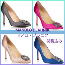 Manolo Blahnik Hangisi Blended Fabrics Plain Pin Heels With Jewels