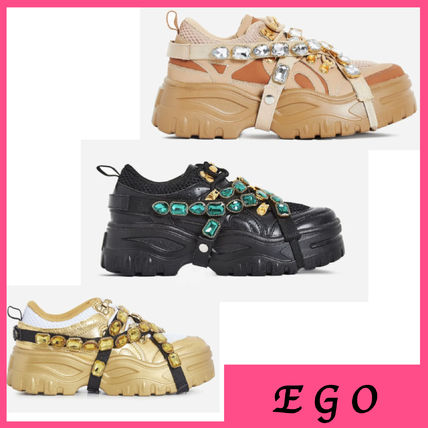Round Toe Lace-up Casual Style Faux Fur With Jewels